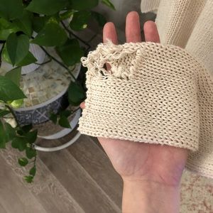 Ann Taylor Sweaters - Ann Taylor Knit Cream Distressed Sweater Small